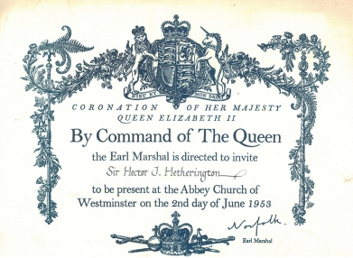 Invite card for Sir Hector Hetherington to attend the Coronation Service in 1953