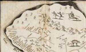 Detail from a 1657 map of Barbados, showing plantations and escaped slaves being hunted down (Sp Coll Hunterian K.3.3)