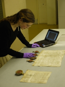 Aline cataloguing the Blackhouse Charters