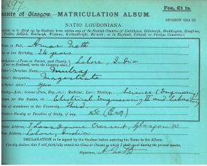 Matriculation slip of Amar Nath