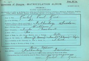 The matriculation slip of Rachel Paul Reid