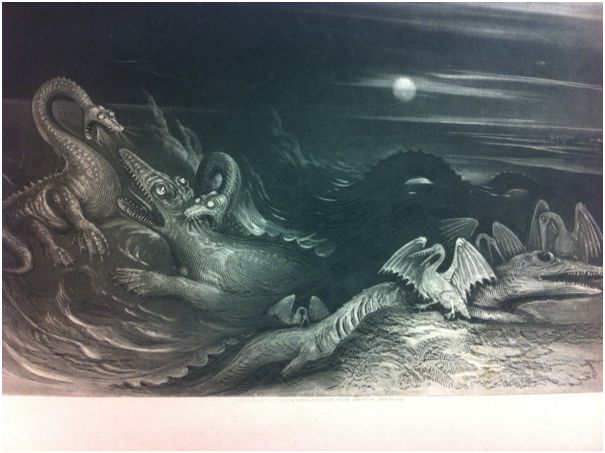 First image of the book, maybe depicting how the author thought these extinct beasts may have lived?!