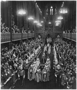 Coronation of Queen Elizabeth II, image shows Queen exiting Wetminster Abeey