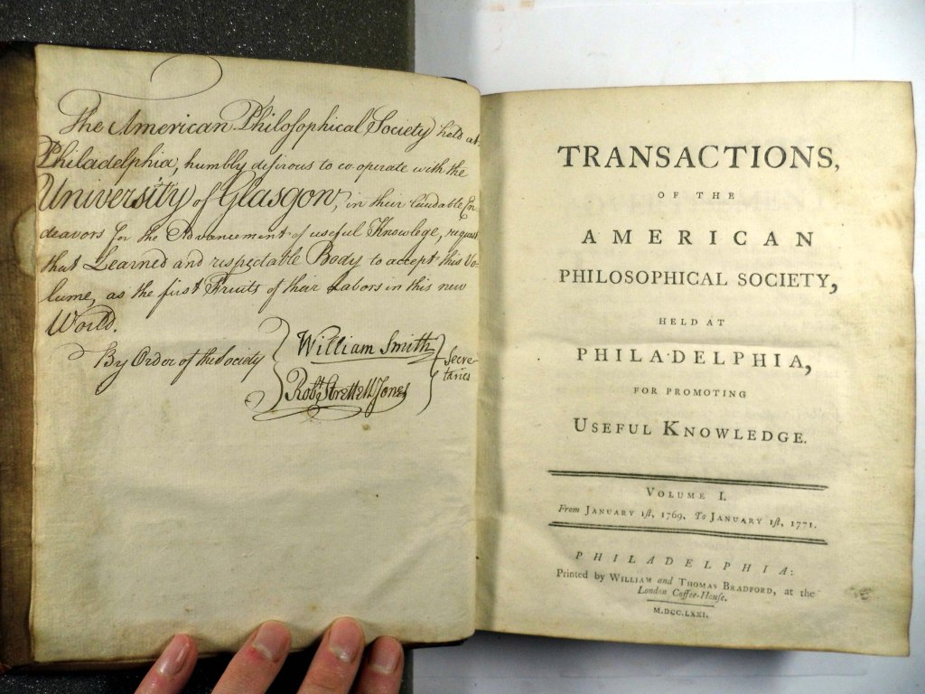 Titlepage and inscription on the Transactions of the American Philosophical Society (Sp Coll Bi8-f.1)