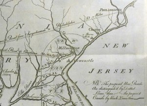 Detail from Transactions plate VII, showing Pennsylvania's planned new roads and canals (Sp Coll Bi8-f.1)