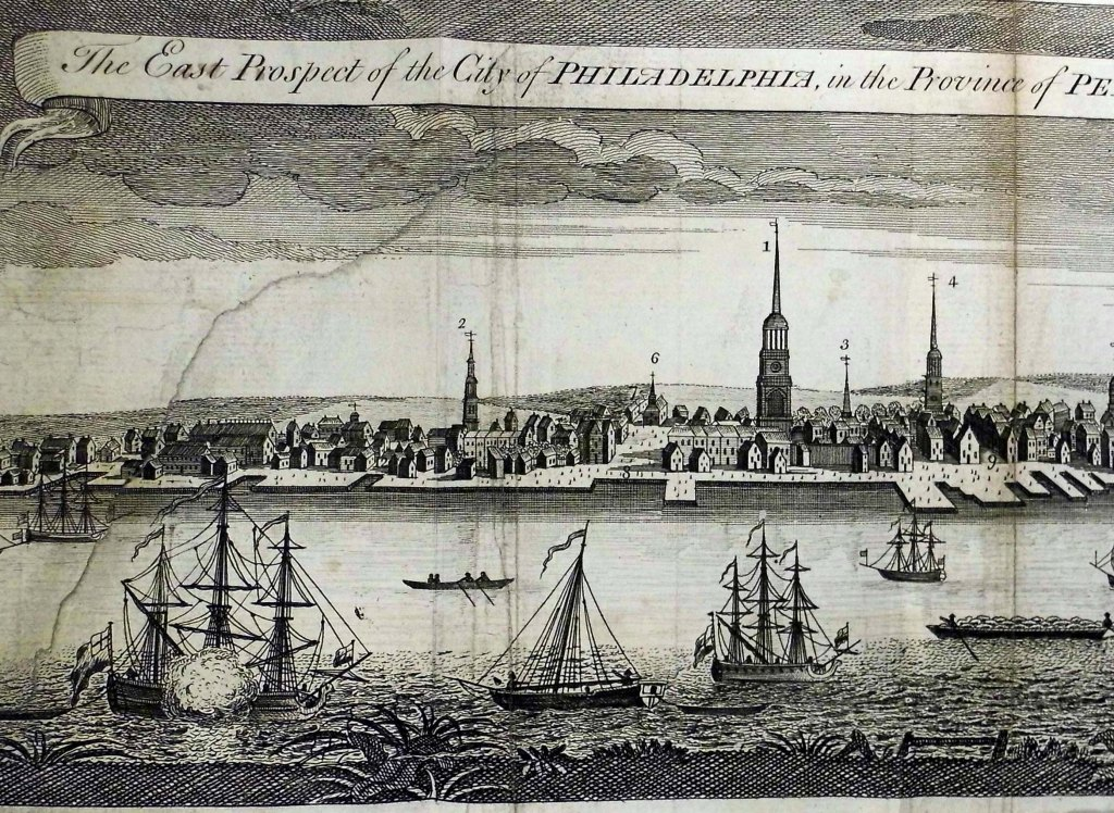 Section of a plate depicting Philadelphia. From a 1741 work printed on Franklin's own press (Sp Coll Mu39-g.28)