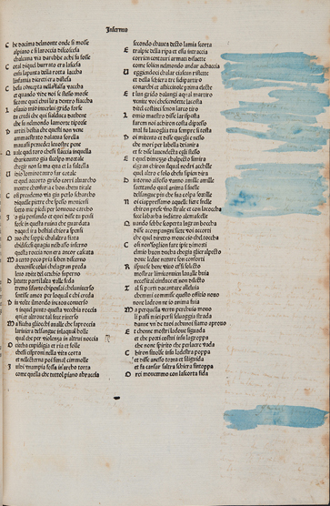 Dante's Comedy with obliterated annotations (Sp Coll Hunterian Bf.1.4)