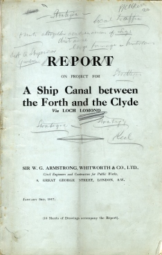 Report by Sir WG Armstrong, Whitworth & Co Ltd on the project for a ship canal between the Forth and Clyde via Loch Lomond (Ref: DC 006/916)