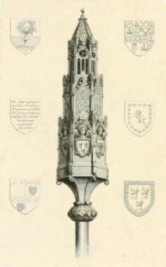 Drawing of the Mace and details of its coats of arms from the Munimenta Alme Universitatis Glasguensis (Glasgow: [Maitland Club], 1854), preface, p. xlii
