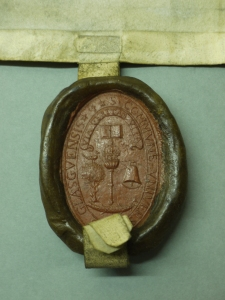 Seal of the University of Glasgow, late 16th century (BL 319). We can see the Mace at the centre.