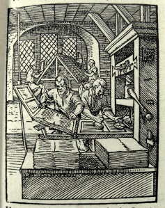 Printer's at work. From Schopper's 1574 'De Omnibus illiberalibus', woodcuts by Jost Amman. (Sp Coll S.M. 969)