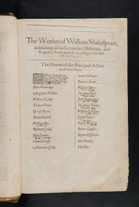 Principal actors in Shakespeare's plays, annotated by contemporary reader. Our copy of the first folio (Sp Coll BD8-b.1)