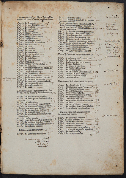 Annotated table of contents of 1480 edition