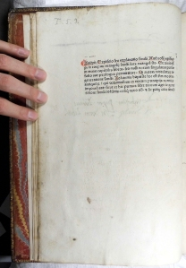 Folio [a1v] of Ambrosius: Expositio in evangelium S. Lucae. (Augsburg: Sorg, 1476) (Sp Coll Hunterian Be.2.9)