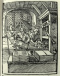 Printers at work. From Schopper's 1574 'De Omnibus illiberalibus', woodcuts by Jost Amman. (Sp Coll S.M. 969)
