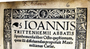 Ioannis Trittenhemii  liber octo questionum – Roger Ascham ownership inscription on titlepage (Sp Coll Ferguson Af-f.60)