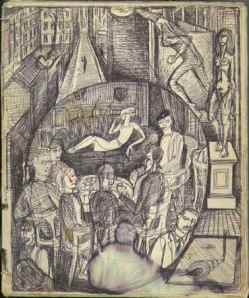 Drawing of the Elite café, from the cover of MS Gen 1595/1/13.