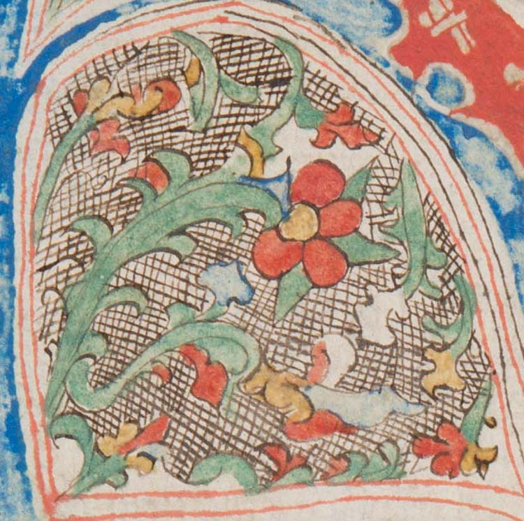 "Detail of decoration in the eye of the initial ""H"""