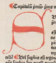 """Detail of """"standard"""" small initial """"S"""" (note the curling)"""