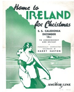 A poster advertising Christmas travel to Ireland from the United States by Anchor line in 1935