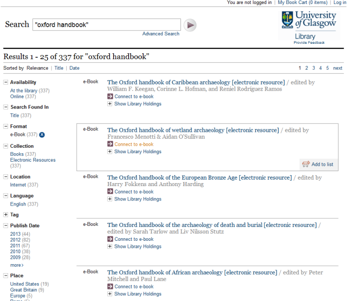 Oxford Handbooks Online available through quicksearch