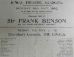1. William Hartnell (1963-1966), as A  Dirty Boy in The rivals at the King's Theatre, Glasgow in May 1926.  STA Fa 10/92