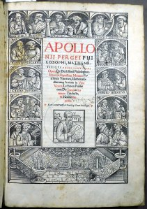 Woodcut titlpeage of 1537 Apollonius of Perga (Sp Coll Hunterian R.3.2)