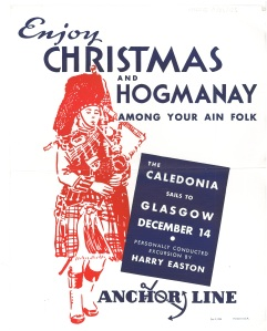 An anchor line poster for going home to Scotland from 1935