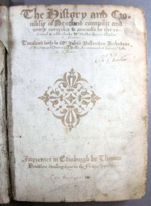 Hand-written facsimile titlepage. Very different from surviving examples of the printed titlepage (Sp Coll Bn6-d.18)