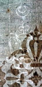 Watermark of single handed pot, with crescent and letters P|BR. Same as Gravell, Pot 0.39.1 (Sp Coll Bn6-d.18)