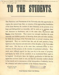 A note to  the students of the University, requesting good behaviour during the installation of Rector (March 21, 1886)