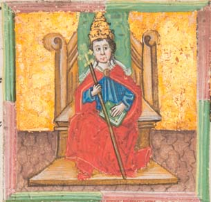 Boniface VIII seated on a throne, wearing the triple crown and holding a book and papal staff in his hands (Sp Coll BD9-a.11)