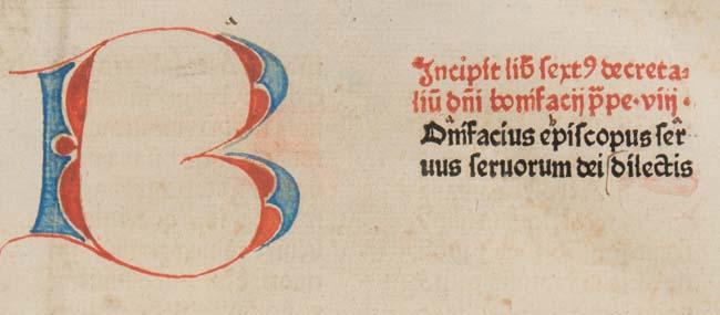 Penwork initial in Bonifacius VIII, Pont. Max.: Liber sextus Decretalium (Sp Coll BD9-a.11)