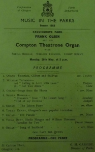 Compton Theatrone Organ. Music in the Parks, 26 May 1952.  STA Fn 8/16a