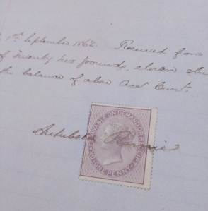 Signature of Captain Archibald Perrie on his account with owners of Araby Maid, 1862