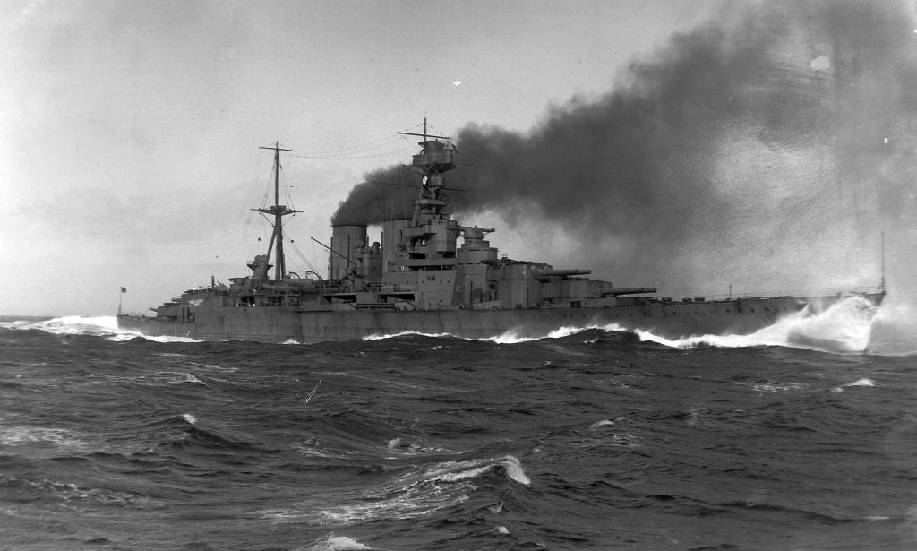 HMS Hood on trial on the Firth of Clyde