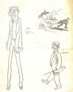 Various drawings from notebook, includes drawing of another Glasgow University Magazine contributor