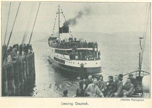 One of the steamers leaving Gourock, be-decked with bunting and flags, from the Templetonian magazine