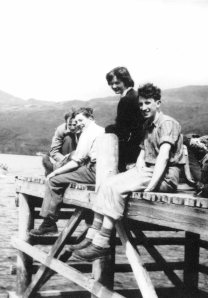 Loch Maree, June 1951, awaiting ghillie with private ferry to Letterewe: (l-r) Douglas Hutchison, Brian Smith, Angela Hood, J. Stewart Orr