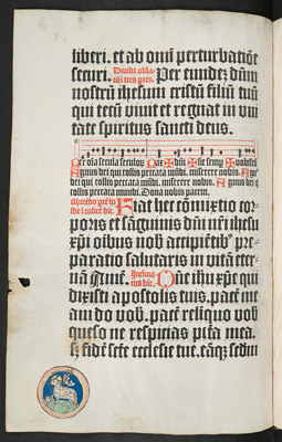 Vellum page with paschal lamb
