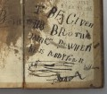 Endpapers of Mu31-g.11, with inscription presumed to be by Sir Alexander about his brother James.