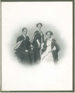 Kate Thomson and her siblings Jessie and John in their graduation robes