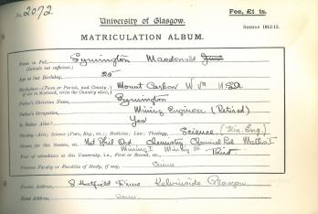 Matriculation slip of Symington Macdonald