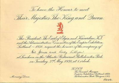 Invite for Sir James and Lady Lithgow to lunch at the Atlantic Restaurant