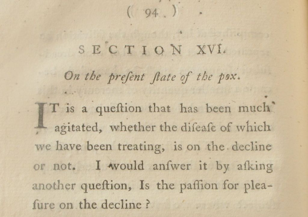 The opinion of WIlliam Fordyce on whether or not numbers of cases of syphilis are on the decline (Sp Coll Bi8-f.12; item 4 of 7)