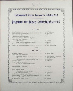 Programme for the Kaiser's Birthday Celebrations, 1917 (Eph. A74)