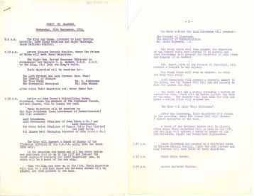 Itinerary for the Launch event, 26th September 1934 (ucs1/107/116)