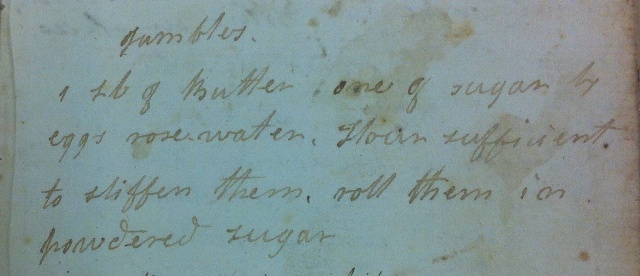 Recipe for 'gambles' from the original cookery book kept by Anna McNeill Whistler.