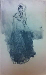 Frontispiece to the main library copy of Whistler's Mother's Cook Book showing 'Whistler's Mother' in drypoint by Whistler.