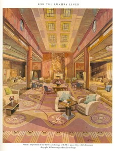 Artist's impression of the design concept for the Main Lounge of RMS Queen Mary with carpet by designer Agnes Pinder Davis, 1936 (STOD201/1/2/2)